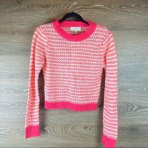 Wayf Open Knit Pink Stripe Sweater NWT